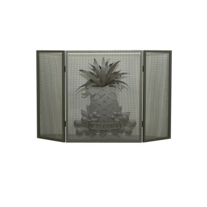 "49"" W X 30"" H Welcome Pineapple Fireplace Screen"