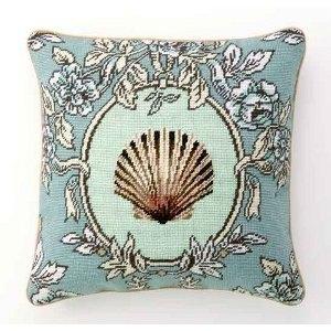 Sea Breeze Scallop Shell Needlepoint Pillow