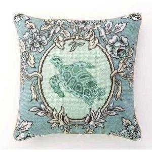 Sea Breeze Tortoise Needlepoint Pillow