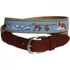 Tug Of Dog Leather Tab Belt  (Blue Gray)