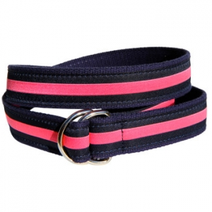Classic Pink Stripe On Navy D-Ring Belt