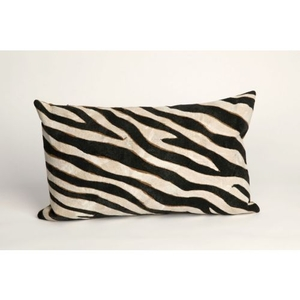 "Liora Manne Visions I Zebra Indoor/Outdoor Pillow - Black, 12"" By 20"""