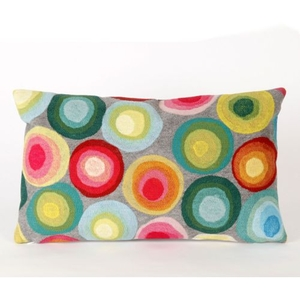 "Liora Manne Visions Ii Puddle Dot Indoor/Outdoor Pillow - Grey, 12"" By 20"""