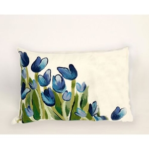 """Liora Manne Visions Ii Allover Tulips Indoor/Outdoor Pillow - Blue, 12"""" By 20"""""""