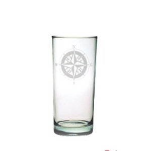 Compass Etched Hi-Ball Glass Set
