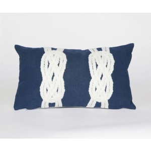 """Liora Manne Visions Ii Double Knot Indoor/Outdoor Pillow - Navy, 12"""" By 20"""""""