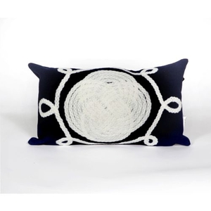 """Liora Manne Visions Ii Ornamental Knot Indoor/Outdoor Pillow - Navy, 12"""" By 20"""""""
