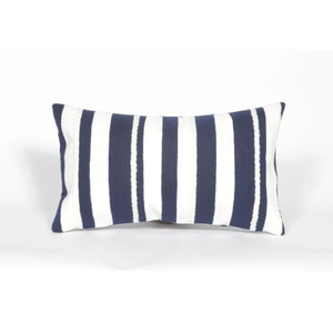 "Liora Manne Visions II Marina Stripe Indoor/Outdoor Pillow - Navy, 12"" by 20"""