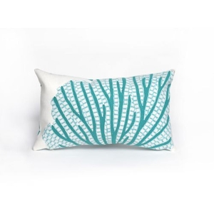 """Liora Manne Visions Iii Coral Fan Indoor/Outdoor Pillow - Blue, 12"""" By 20"""""""