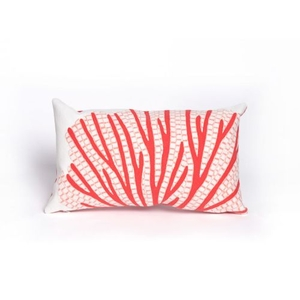"""Liora Manne Visions Iii Coral Fan Indoor/Outdoor Pillow - Orange, 12"""" By 20"""""""