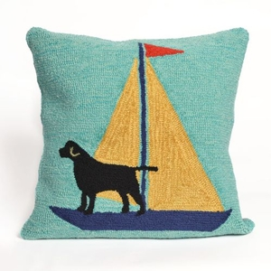 "Liora Manne Frontporch Sailing Dog Indoor/Outdoor Pillow - Blue, 18"" Square"