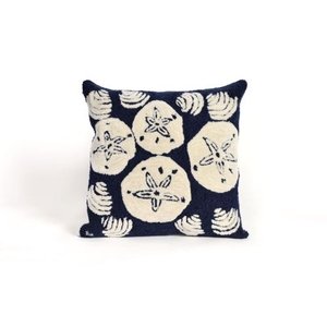 """Liora Manne Frontporch Shell Toss Indoor/Outdoor Pillow - Navy, 18"""" Square"""