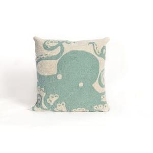 "Liora Manne Frontporch Octopus Indoor/Outdoor Pillow - Blue, 18"" Square"