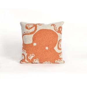 "Liora Manne Frontporch Octopus Indoor/Outdoor Pillow - Orange, 18"" Square"