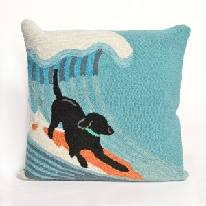"Liora Manne Frontporch Surfing Dog Indoor/Outdoor Pillow - Blue, 18"" Square"