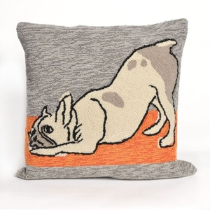 """Liora Manne Frontporch Yoga Dogs Indoor/Outdoor Pillow - Grey, 18"""" Square"""