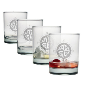 Compass Etched Dor Glass Set
