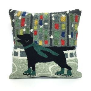 """Liora Manne Frontporch Holiday Ice Dog Indoor/Outdoor Pillow - Green, 18"""" Square"""