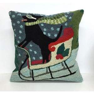 "Liora Manne Frontporch Sledding Dog Indoor/Outdoor Pillow - Multi, 18"" Square"