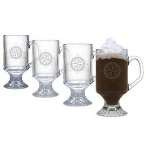 Compass Etched Footed Mug Glass Set
