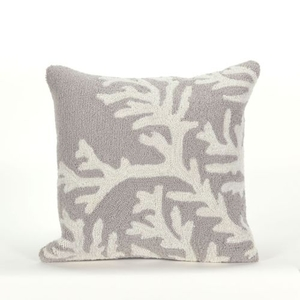 """Liora Manne Frontporch Coral Indoor/Outdoor Pillow - Grey, 18"""" Square"""