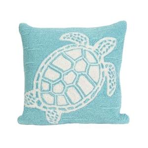 "Liora Manne Frontporch Turtle Indoor/Outdoor Pillow - Blue, 18"" Square"