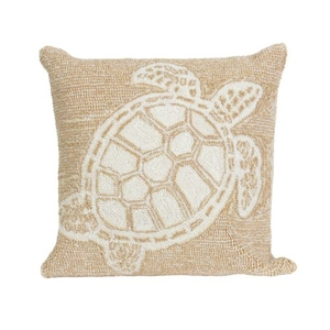 """Liora Manne Frontporch Turtle Indoor/Outdoor Pillow - Natural, 18"""" Square"""