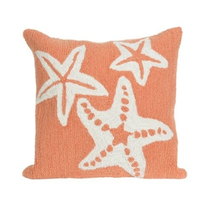 """Liora Manne Frontporch Starfish Indoor/Outdoor Pillow - Orange, 18"""" Square"""