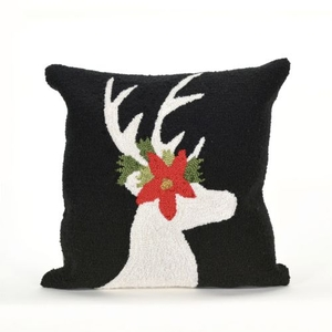 "Liora Manne Frontporch Reindeer Indoor/Outdoor Pillow - Black, 18"" Square"