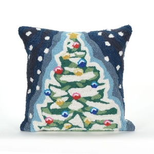 """Liora Manne Frontporch Xmas Tree Indoor/Outdoor Pillow - Blue, 18"""" Square"""