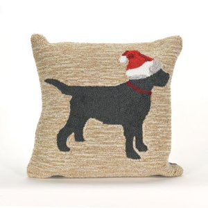"""Liora Manne Frontporch Christmas Dog Indoor/Outdoor Pillow - Natural, 18"""" Square"""