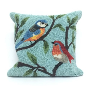 """Liora Manne Frontporch Birds On Branches Indoor/Outdoor Pillow - Blue, 18"""" Square"""