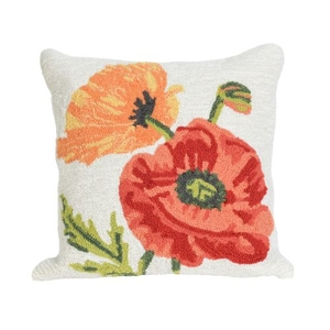 "Liora Manne Frontporch Icelandic Poppies Indoor/Outdoor Pillow - Natural, 18"" Square"