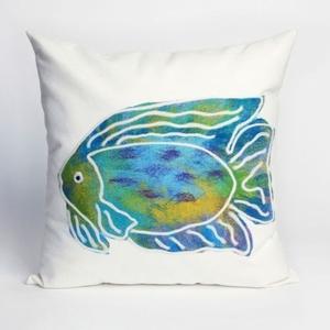 "Liora Manne Visions II Batik Fish Indoor/Outdoor Pillow - Blue, 20"" Square"