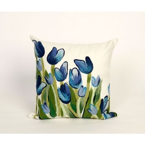 """Liora Manne Visions Ii Allover Tulips Indoor/Outdoor Pillow - Blue, 20"""" Square"""