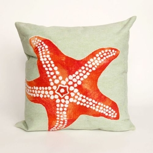 "Liora Manne Visions Ii Starfish Indoor/Outdoor Pillow - Orange, 20"" Square"