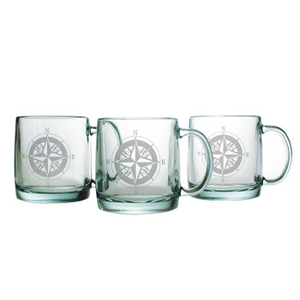Compass Etched Coffee Mug Glass Set