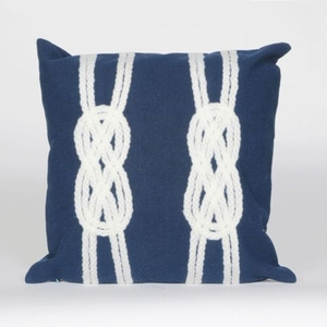 """Liora Manne Visions Ii Double Knot Indoor/Outdoor Pillow - Navy, 20"""" Square"""