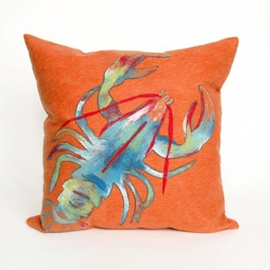 "Liora Manne Visions Ii Lobster Indoor/Outdoor Pillow - Orange, 20"" Square"