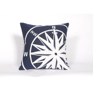 "Liora Manne Visions II Compass Indoor/Outdoor Pillow - Navy, 20"" Square"