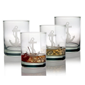 Anchor Etched  DOR Glass Set