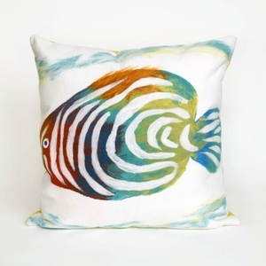 "Liora Manne Visions Iii Rainbow Fish Indoor/Outdoor Pillow - Green, 20"" Square"