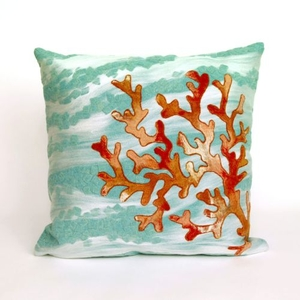 """Liora Manne Visions Iii Coral Wave Indoor/Outdoor Pillow - Blue, 20"""" Square"""