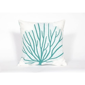 """Liora Manne Visions Iii Coral Fan Indoor/Outdoor Pillow - Blue, 20"""" Square"""