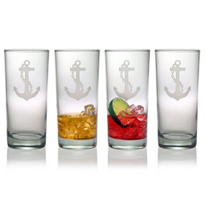 Anchor Etched Hi-Ball Glass Set