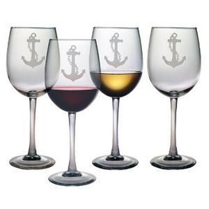 Anchor Etched Stemmed Wine Glass Set