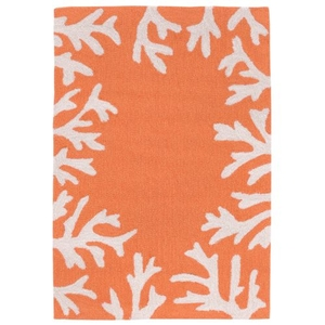 "Liora Manne Capri Coral Bdr Indoor/Outdoor Rug - Orange, 20"" By 30"""