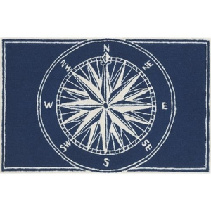 "Liora Manne Frontporch Compass Indoor/Outdoor Rug - Navy, 20"" By 30"""