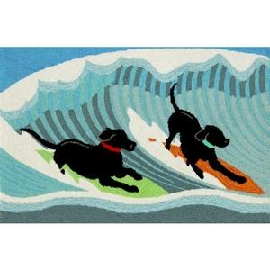 "Liora Manne Frontporch Surfing Dogs Indoor/Outdoor Rug - Blue, 20"" By 30"""