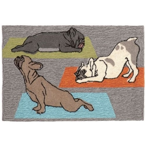 "Liora Manne Frontporch Yoga Dogs Indoor/Outdoor Rug - Grey, 20"" By 30"""